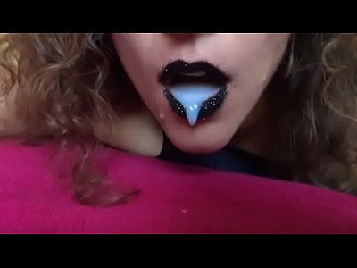 Cum Gloves Sperm video: Black lips cum in my mouth latex gloves spit SlowMo