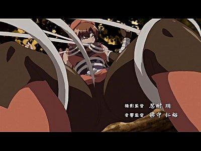 エロアニメ調教された巨乳美少女くの一が男にデカ○ンで犯される