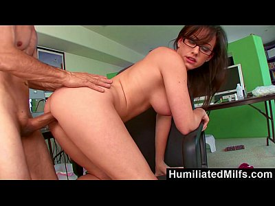 Licking Glasses Brunette vid: HumiliatedMilfs - Jennifer White Bent Over The Office Chair & Boned!