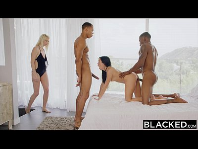 Blowjob Brunette Cumshot video: BLACKED Megan Rain's surprise interracial threesome