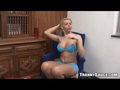 Sexy Blonde Tranny Hottie Jerking Off...