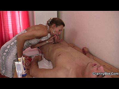 Granny masseuse jumps on his cock 3