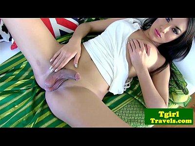 Beautiful ladyboy pita teases her cock 3