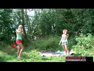 Amateur Outdoor xxx: clubseventeen 2 girls 1 guy fucking outdoor