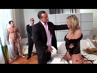 Spanking Group Fetish video: A Good Release Sexy Blonde bitchdevours 3 cocks in triple penetration