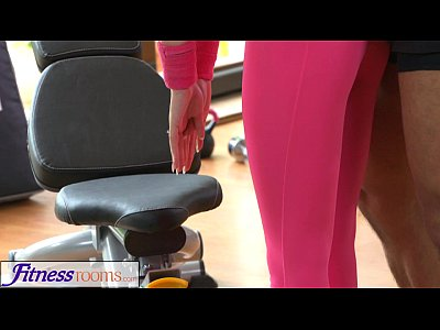 Sweaty Instructor Fitness vid: FitnessRooms Gym instructor pulls down her yoga pants for sex