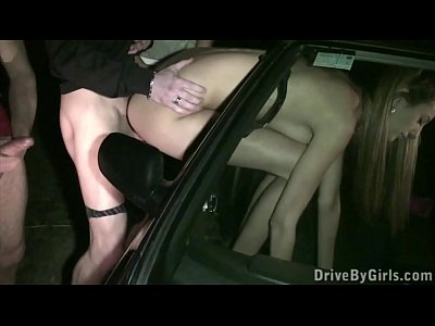 Cum on Kitty Jane face through car window in public sex dogging gang bang orgy