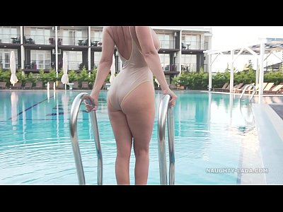 Beach Public Milf video: I'm wearing transparent swimsuit in the public pool