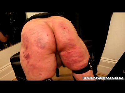 Brutal caning on the bench - kinkmistresses.com