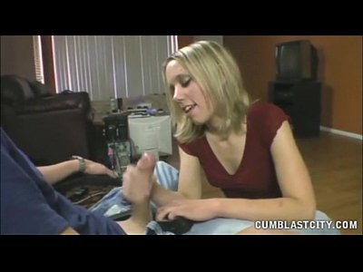 Horny american gets splatterred with cum 2