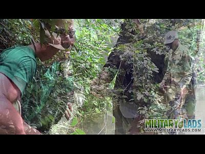 Free Gay Videos Soldier wades a river for a blowjob