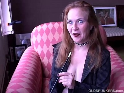 Stockings Milf video: Super sexy old smoker in suspenders loves to talk dirty to you