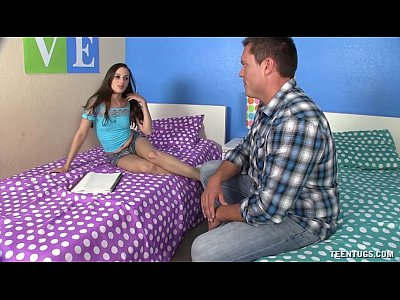 Teen Brunette video: Teen Topless Handjob
