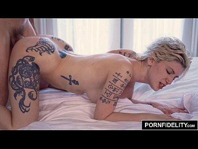 Blonde Tattoos Creampie video: PORNFIDELITY - Punk Babe Indigo August Ass Fucked Deep and Hard