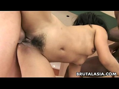 Asian bitch shares two rock hard cocks in a thr...