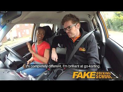 British Black Ebony vid: Fake Driving School ebony learner with big tits is worst driver yet