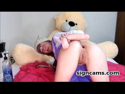 Teen anal dildo riding