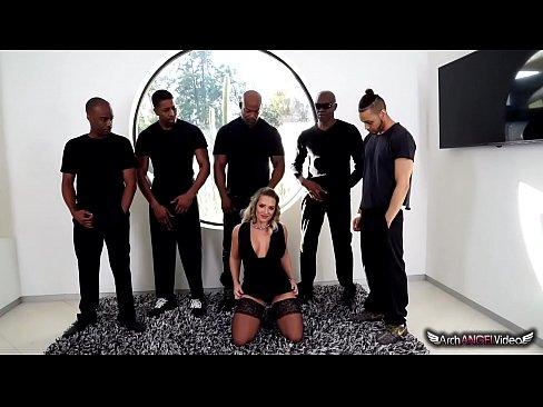 Cali Carter Blows Five Big Black Cocks
