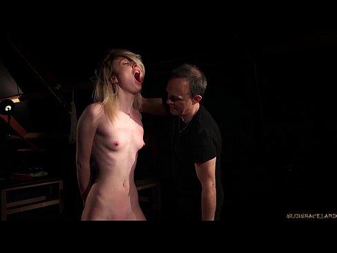 Bound hot slave in pain for bdsm fetish fuck