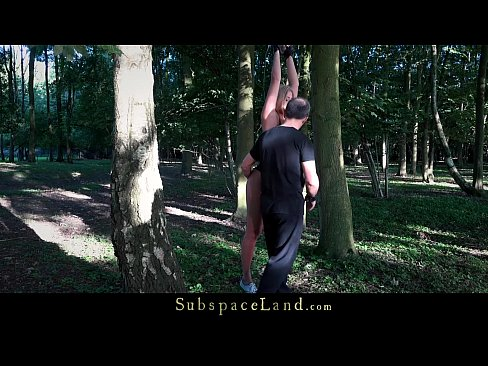Slave suffers bondage pain rough fuck mouth use in the woods
