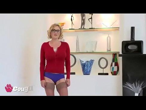Horny MILF In Stockings Takes Dick On Webcam