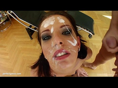 Facial group cumshots for Queenie on Cum For Cover in a blowbang scene