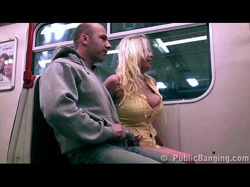 Extreme public subway sex threesome with big tits star Stella Fox and 2 big guys