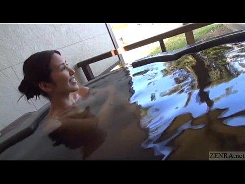 人妻動画。不倫旅行にウキウキワクワクの素人妻と露天風呂でのSEX!!...
