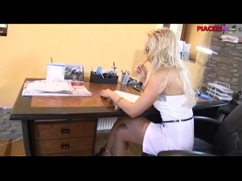 Blonde Secretary gives blowjob