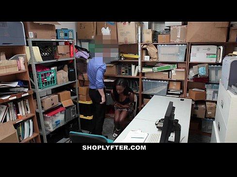 Shoplyfter - Hot Ebony Cutie Sucks Cock To Avoid Jail
