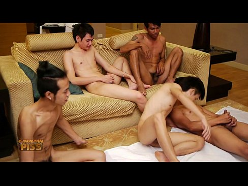 Five Boys Jerking Together