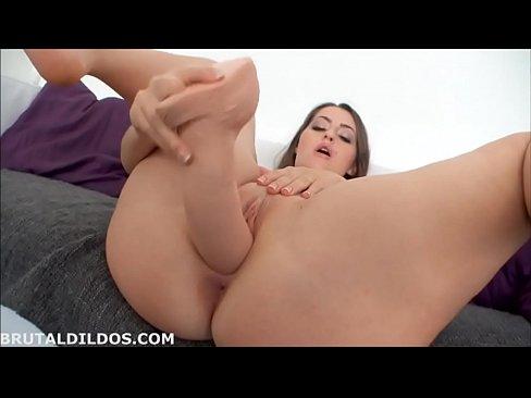 Insatiable girl is often using a huge dildo