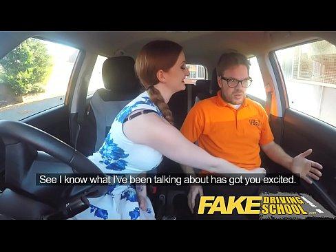 Fake Driving School Posh freaky redhead with bi...