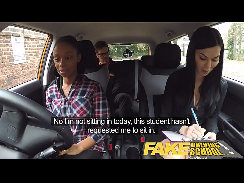 Fake Driving School busty black girl fails test...