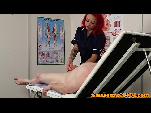 Redhead cfnm nurse jerking while in stockings