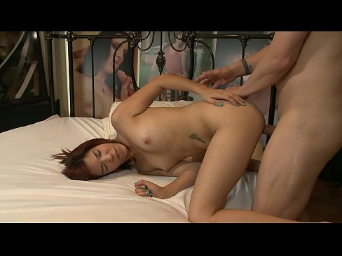 Killing redhead Leah Cortez throats cock and gets it inside in doggy style