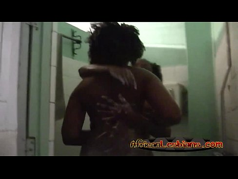Busty ebony lesbians having hot shower together
