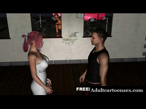 Busty 3D cartoon babe gets fucked outdoors by a...