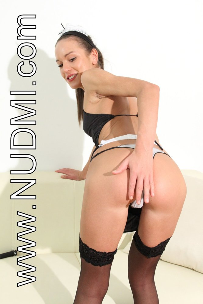 Candid Russian Maid Nataly Gold In Black Stockings Performs Nylon Images 1