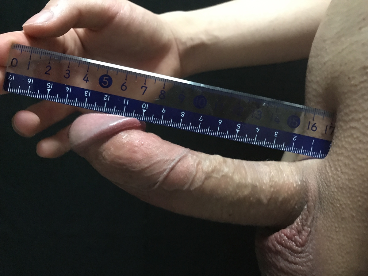 Wife measuring my cock