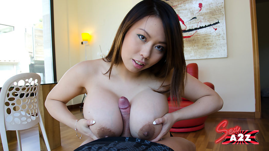Big tit asian riding dildo