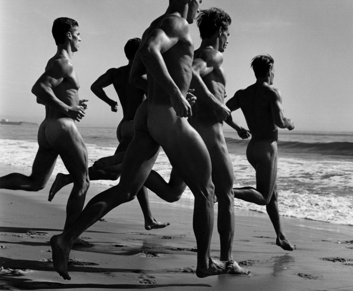 Race dumbbell naked men