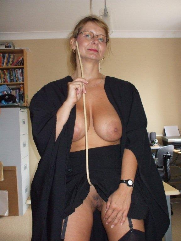 British Busty Milf Sally Dressed As A School Mistress -4023