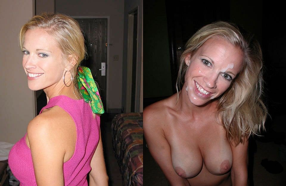 Shot before after cum and slut wife
