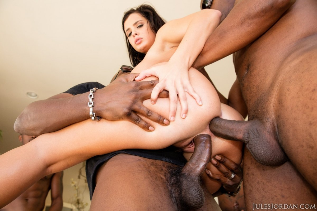 Interracial destruction and facial cumshot for crazy whore 9