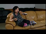 Picture Tattooed Asian nanny fucked on leather couch