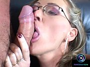 Picture Mandy Bright in glasses getting a huge facia