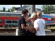 Picture MILF hard PUBLIC threesome fuck at a train s...