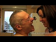 Picture French brunette blows an old man