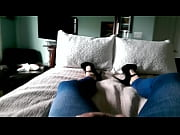 Picture Crossdresser leggings heels cumshot